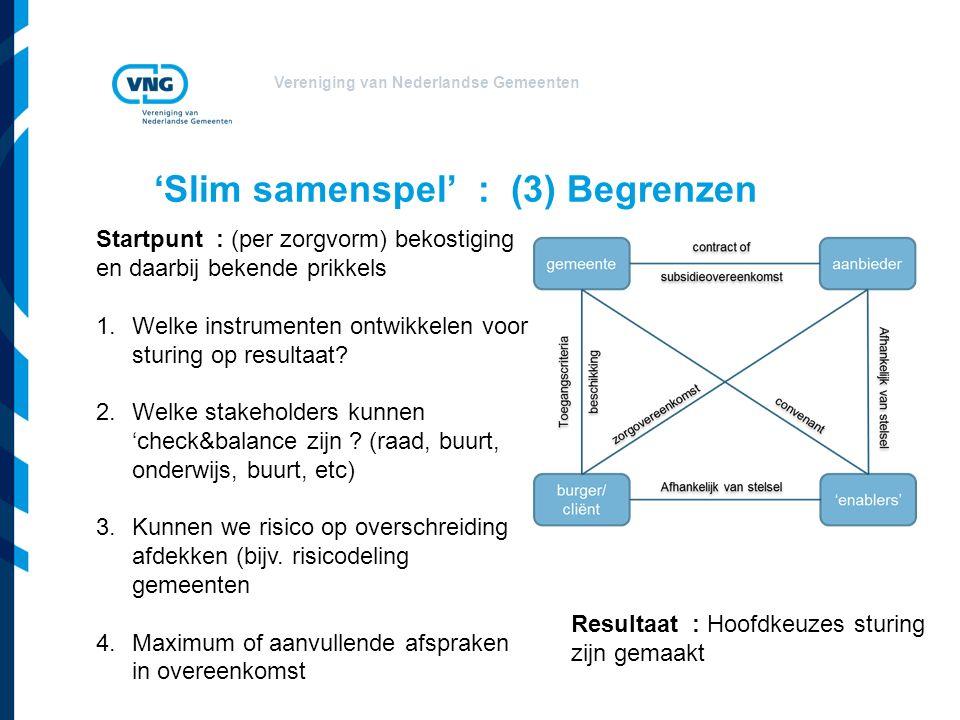Vereniging van Nederlandse Gemeenten 'Slim samenspel' : (3) Begrenzen Startpunt : (per zorgvorm) bekostiging en daarbij bekende prikkels 1.Welke instrumenten ontwikkelen voor sturing op resultaat.