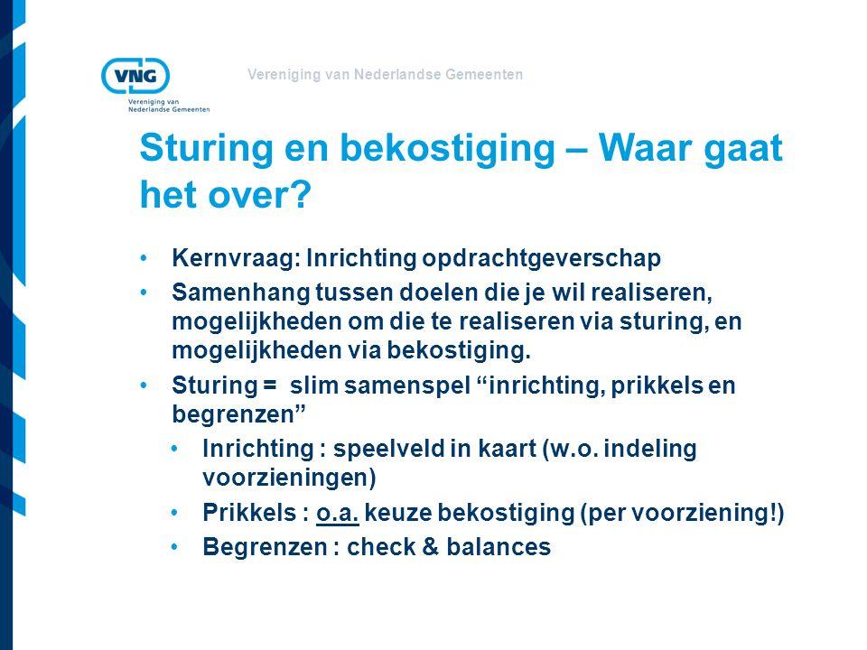 Vereniging van Nederlandse Gemeenten Kernvraag: Inrichting opdrachtgeverschap Samenhang tussen doelen die je wil realiseren, mogelijkheden om die te realiseren via sturing, en mogelijkheden via bekostiging.