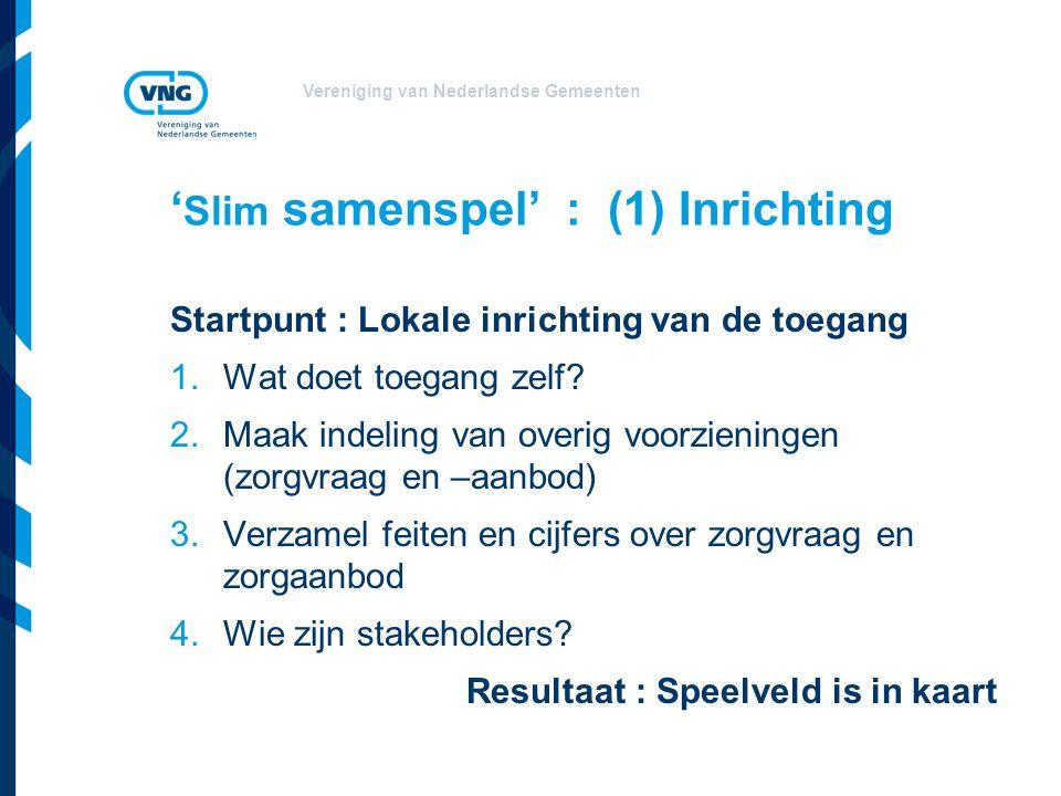 Vereniging van Nederlandse Gemeenten ' Slim samenspel' : (1) Inrichting Startpunt : Lokale inrichting van de toegang 1.Wat doet toegang zelf.