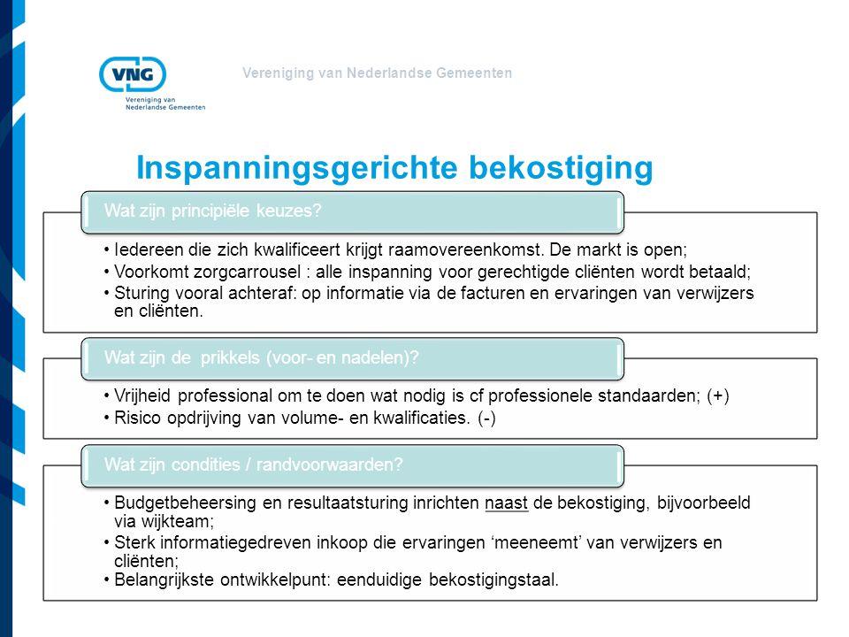 Vereniging van Nederlandse Gemeenten Iedereen die zich kwalificeert krijgt raamovereenkomst.