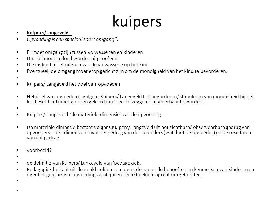"""kuipers Kuipers/Langeveld – Opvoeding is een speciaal soort omgang"""". Er moet omgang zijn tussen volwassenen en kinderen Daarbij moet invloed worden ui"""