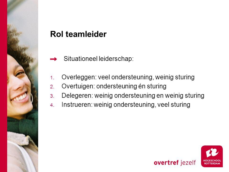 Rol teamleider Situationeel leiderschap: 1. Overleggen: veel ondersteuning, weinig sturing 2.