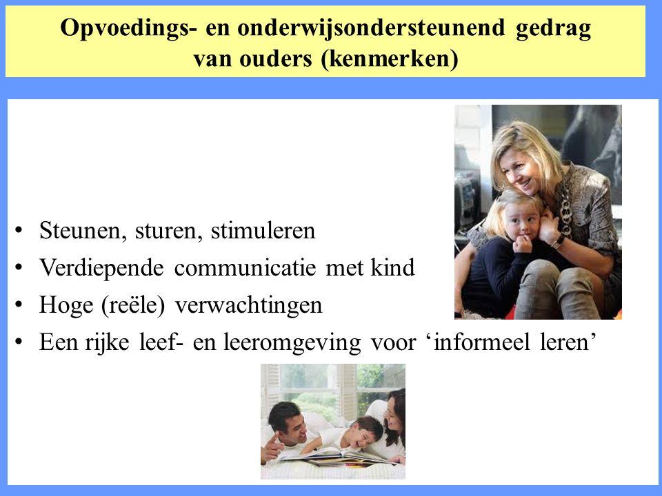 Opvoedings- en onderwijsondersteunend gedrag van ouders (kenmerken) Steunen, sturen, stimuleren Verdiepende communicatie met kind Hoge (reële) verwachtingen Een rijke leef- en leeromgeving voor 'informeel leren'