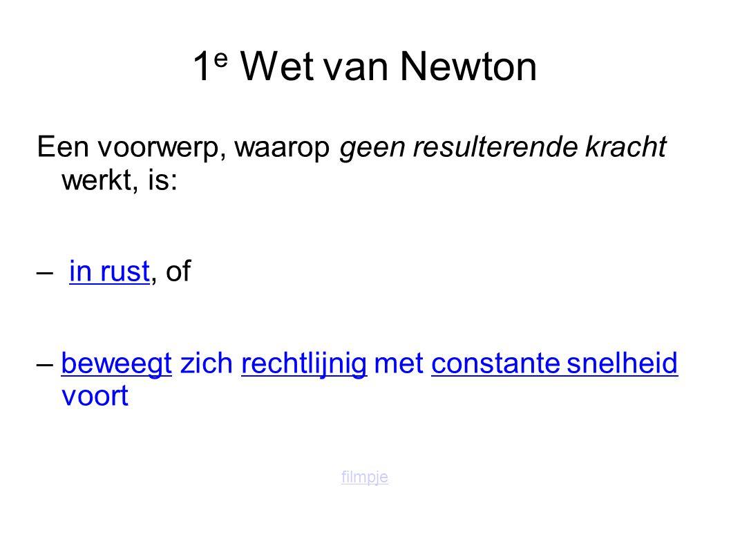 1 e Wet van Newton Een voorwerp, waarop geen resulterende kracht werkt, is: – in rust, of – beweegt zich rechtlijnig met constante snelheid voort filmpje