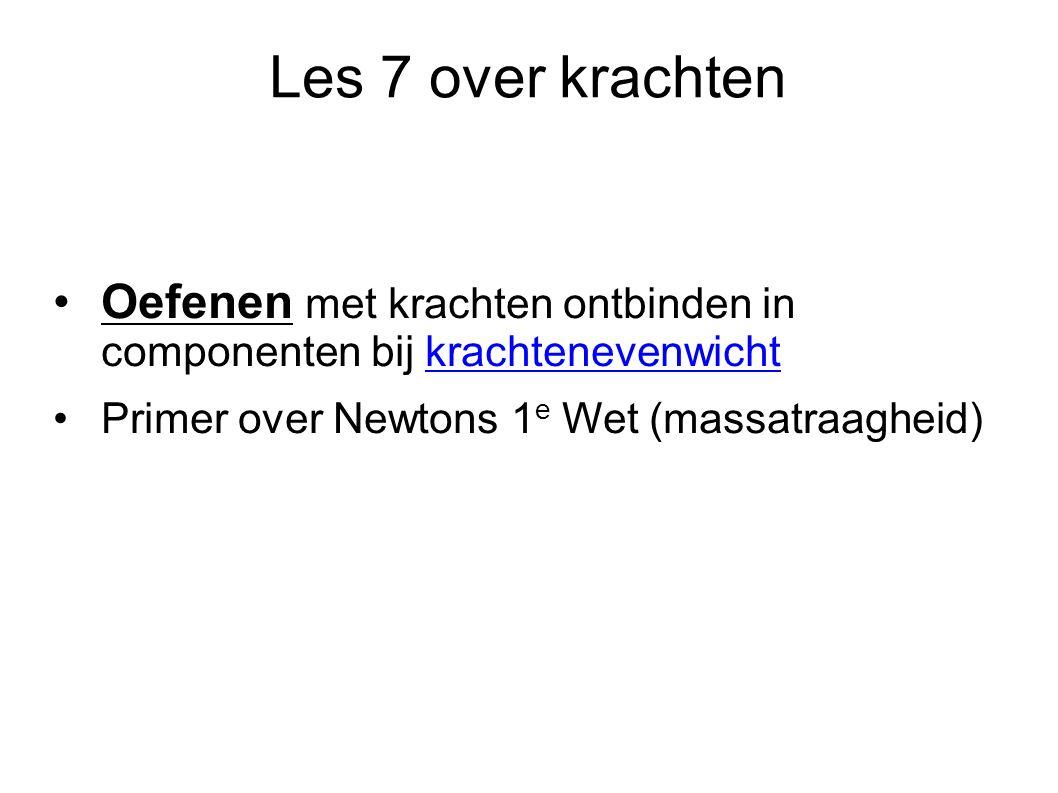 Les 7 over krachten Oefenen met krachten ontbinden in componenten bij krachtenevenwicht Primer over Newtons 1 e Wet (massatraagheid)