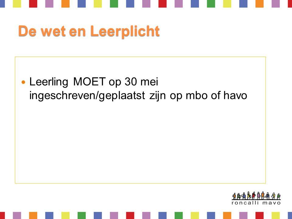 De wet en Leerplicht Leerling MOET op 30 mei ingeschreven/geplaatst zijn op mbo of havo