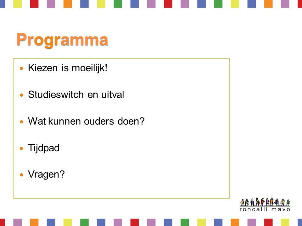 Programma Kiezen is moeilijk! Studieswitch en uitval Wat kunnen ouders doen Tijdpad Vragen