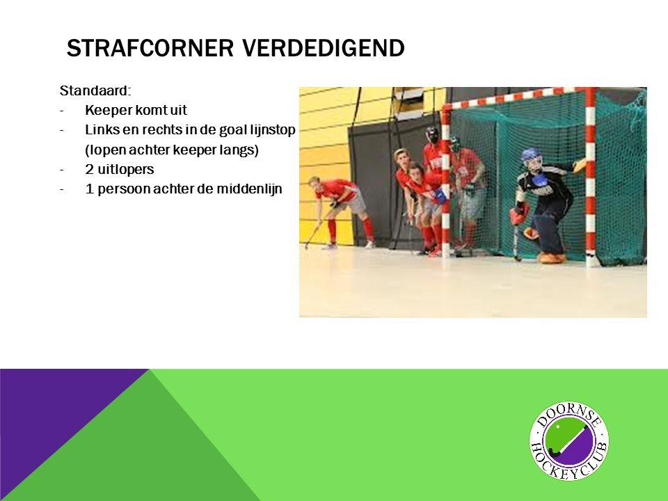STRAFCORNER VERDEDIGEND Standaard: -Keeper komt uit -Links en rechts in de goal lijnstop (lopen achter keeper langs) -2 uitlopers -1 persoon achter de