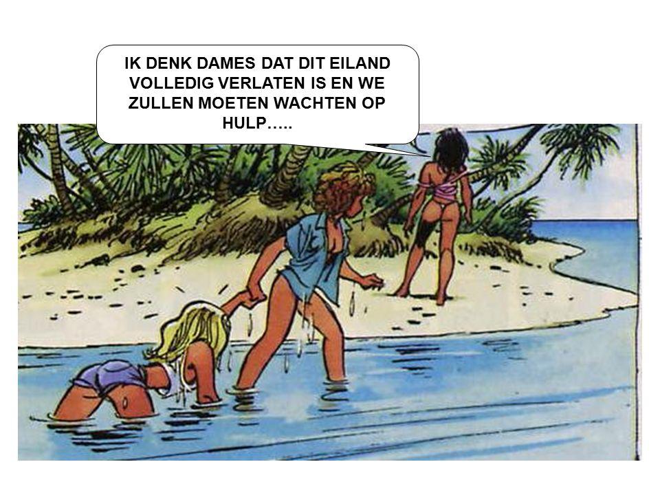 IK DENK DAMES DAT DIT EILAND VOLLEDIG VERLATEN IS EN WE ZULLEN MOETEN WACHTEN OP HULP…..
