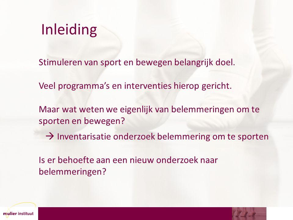 Samenvattend Belemmeringen vooral: gebrek aan tijd, lichamelijke problemen en een gebrek aan motivatie om te sporten Soms spelen de kosten een rol, Voor mensen met een beperking vooral persoonlijke belemmeringen