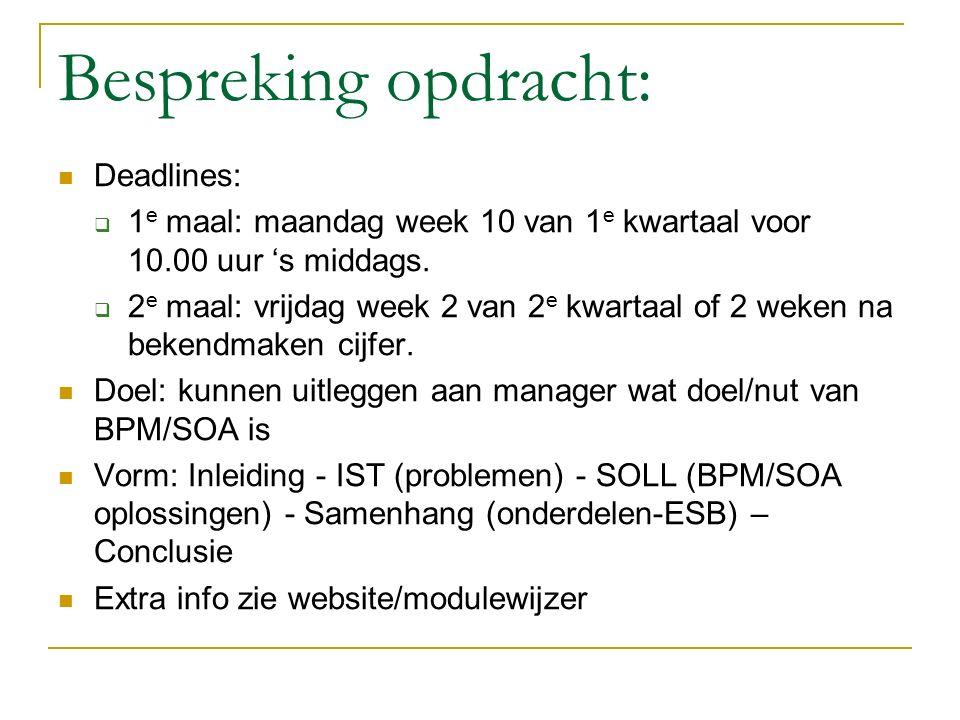 Bespreking opdracht: Deadlines:  1 e maal: maandag week 10 van 1 e kwartaal voor 10.00 uur 's middags.  2 e maal: vrijdag week 2 van 2 e kwartaal of