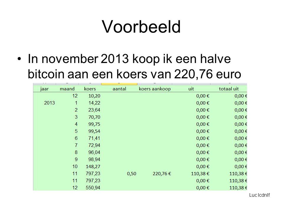 Voorbeeld In november 2013 koop ik een halve bitcoin aan een koers van 220,76 euro Luc lcdnlf