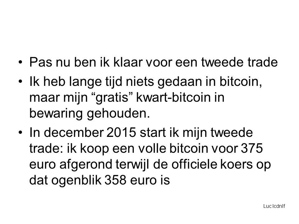 Pas nu ben ik klaar voor een tweede trade Ik heb lange tijd niets gedaan in bitcoin, maar mijn gratis kwart-bitcoin in bewaring gehouden.