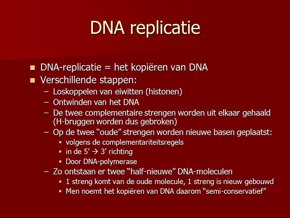 DNA replicatie DNA-replicatie = het kopiëren van DNA DNA-replicatie = het kopiëren van DNA Verschillende stappen: Verschillende stappen: –Loskoppelen van eiwitten (histonen) –Ontwinden van het DNA –De twee complementaire strengen worden uit elkaar gehaald (H-bruggen worden dus gebroken) –Op de twee oude strengen worden nieuwe basen geplaatst:  volgens de complementariteitsregels  in de 5'  3' richting  Door DNA-polymerase –Zo ontstaan er twee half-nieuwe DNA-moleculen  1 streng komt van de oude molecule, 1 streng is nieuw gebouwd  Men noemt het kopiëren van DNA daarom semi-conservatief