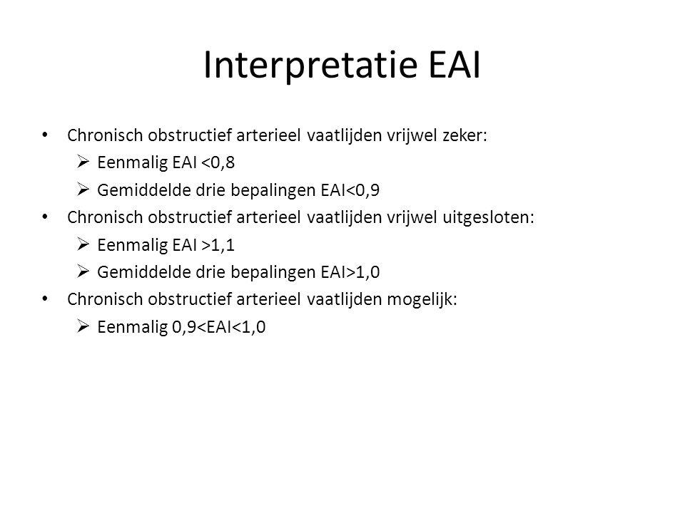 Interpretatie EAI Chronisch obstructief arterieel vaatlijden vrijwel zeker:  Eenmalig EAI <0,8  Gemiddelde drie bepalingen EAI<0,9 Chronisch obstruc
