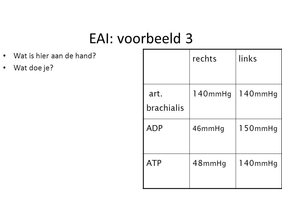 EAI: voorbeeld 3 Wat is hier aan de hand? Wat doe je? rechtslinks art. brachialis 140 mmHg ADP 46mmHg 150 mmHg ATP48 mmHg 140 mmHg