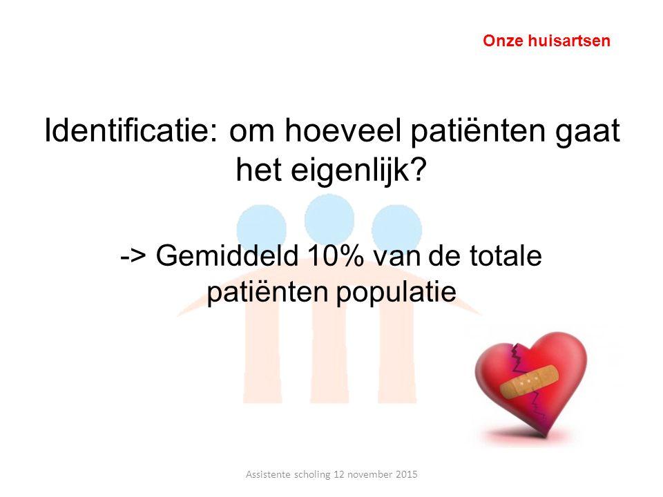 -> Gemiddeld 10% van de totale patiënten populatie Identificatie: om hoeveel patiënten gaat het eigenlijk? Assistente scholing 12 november 2015 Onze h