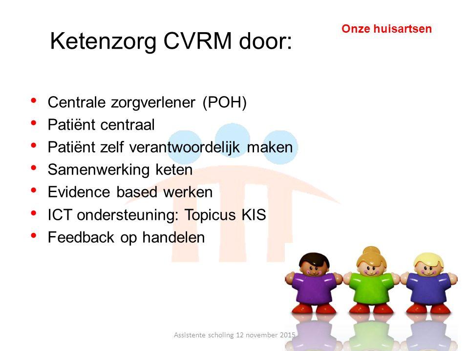 Centrale zorgverlener (POH) Patiënt centraal Patiënt zelf verantwoordelijk maken Samenwerking keten Evidence based werken ICT ondersteuning: Topicus K