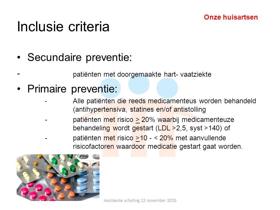 Inclusie criteria Secundaire preventie: ‐ patiënten met doorgemaakte hart- vaatziekte Primaire preventie: - Alle patiënten die reeds medicamenteus wor