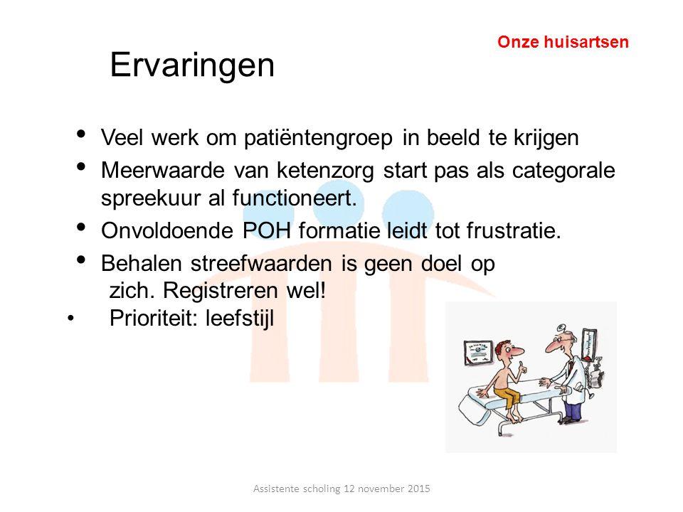 Ervaringen Veel werk om patiëntengroep in beeld te krijgen Meerwaarde van ketenzorg start pas als categorale spreekuur al functioneert. Onvoldoende PO