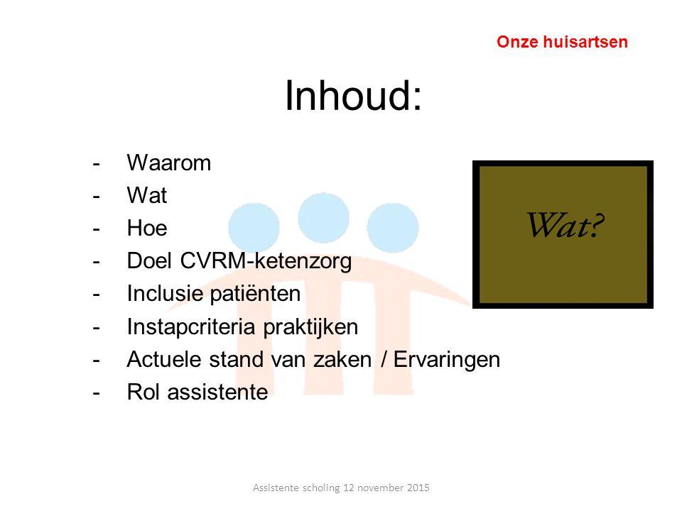 Inhoud: -Waarom -Wat -Hoe -Doel CVRM-ketenzorg -Inclusie patiënten -Instapcriteria praktijken -Actuele stand van zaken / Ervaringen -Rol assistente On