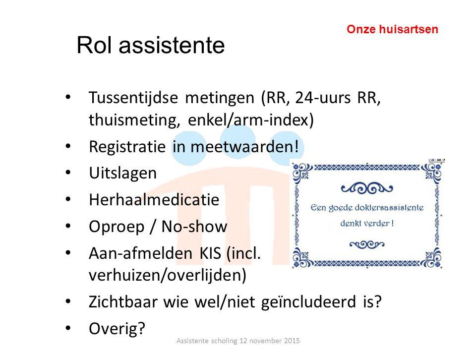 Tussentijdse metingen (RR, 24-uurs RR, thuismeting, enkel/arm-index) Registratie in meetwaarden! Uitslagen Herhaalmedicatie Oproep / No-show Aan-afmel