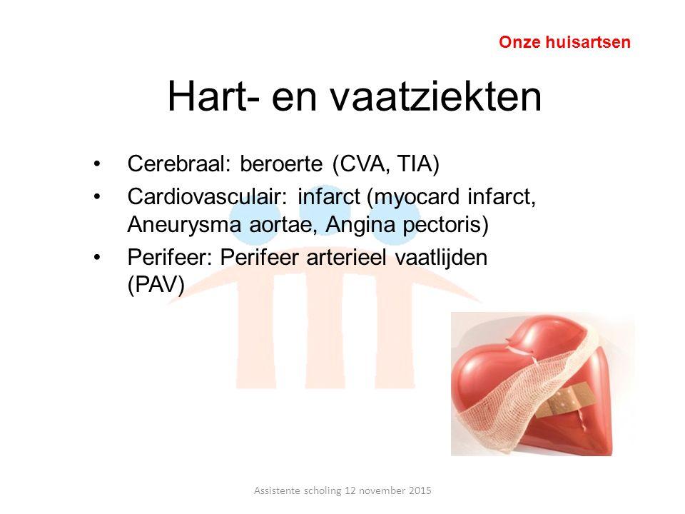 Hart- en vaatziekten Cerebraal: beroerte (CVA, TIA) Cardiovasculair: infarct (myocard infarct, Aneurysma aortae, Angina pectoris) Perifeer: Perifeer a