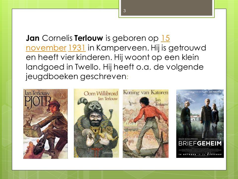 Jan Cornelis Terlouw is geboren op 15 november 1931 in Kamperveen. Hij is getrouwd en heeft vier kinderen. Hij woont op een klein landgoed in Twello.