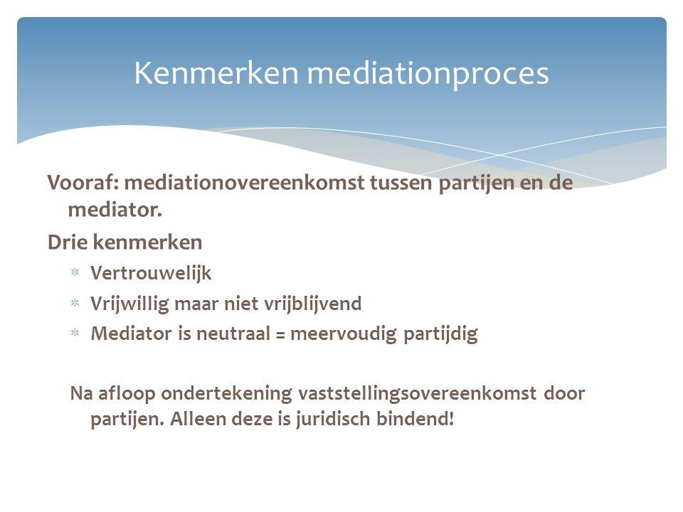 Vooraf: mediationovereenkomst tussen partijen en de mediator. Drie kenmerken  Vertrouwelijk  Vrijwillig maar niet vrijblijvend  Mediator is neutraa