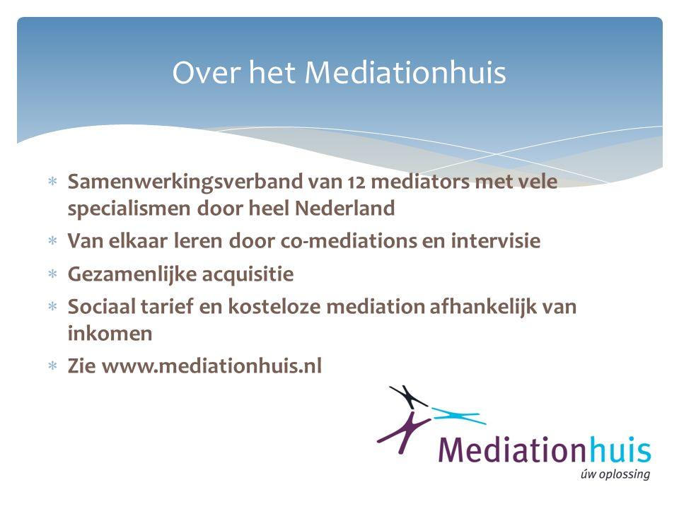Over het Mediationhuis  Samenwerkingsverband van 12 mediators met vele specialismen door heel Nederland  Van elkaar leren door co-mediations en inte