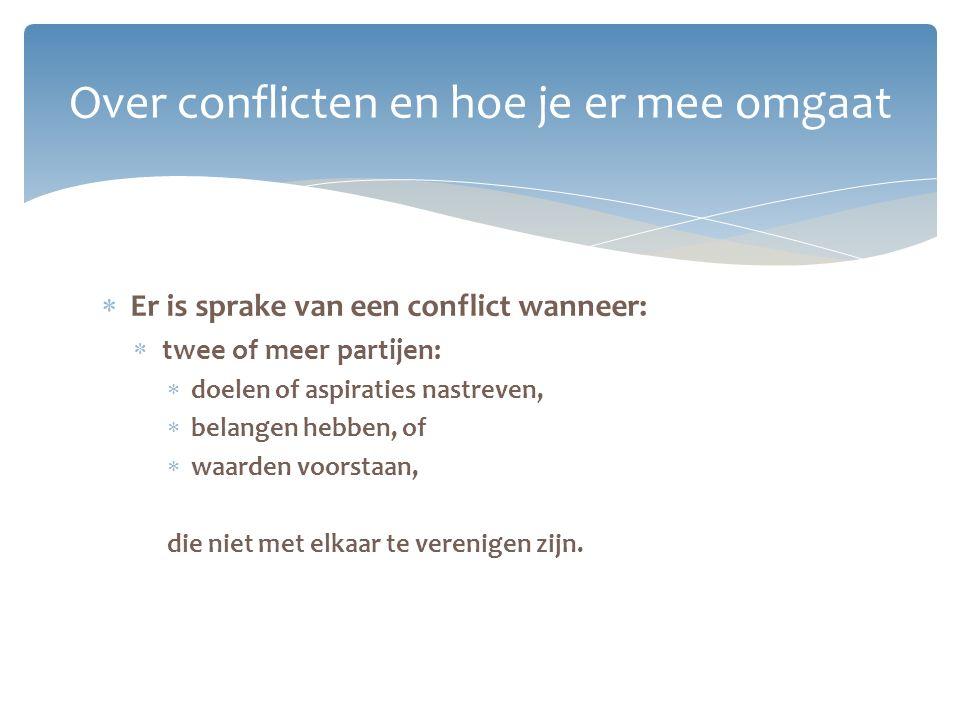 Over conflicten en hoe je er mee omgaat  Er is sprake van een conflict wanneer:  twee of meer partijen:  doelen of aspiraties nastreven,  belangen