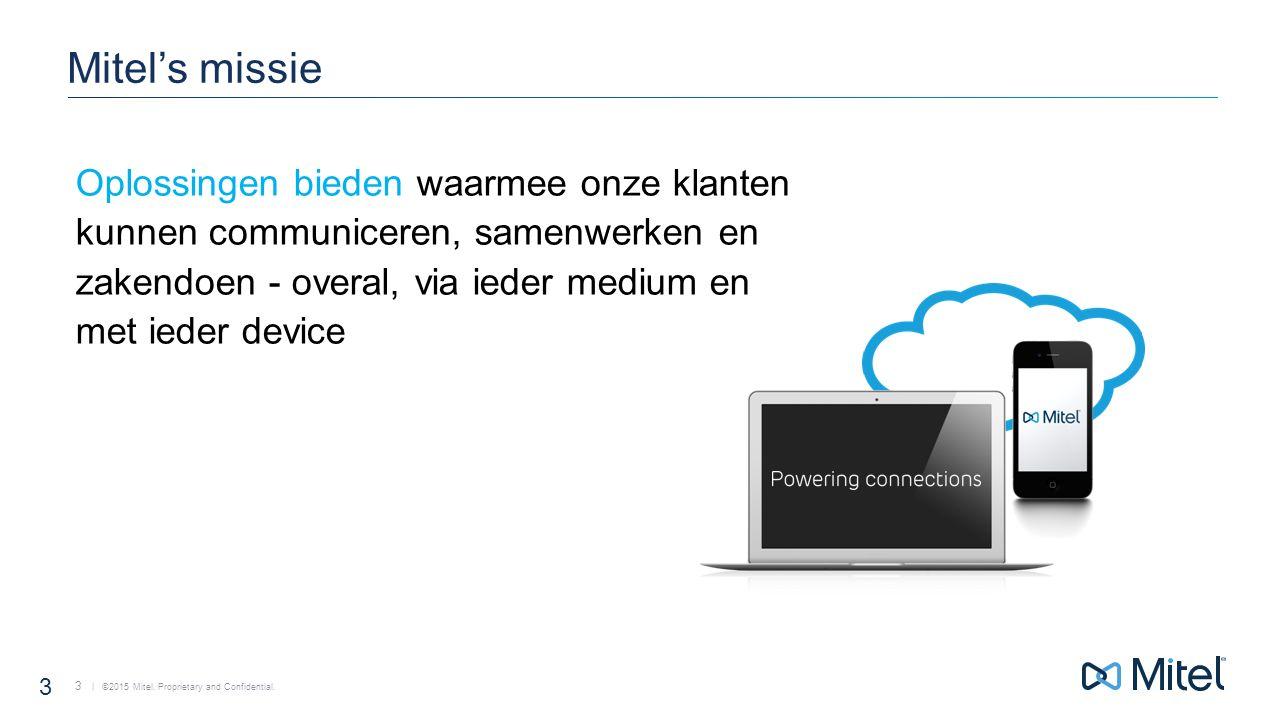 | ©2015 Mitel.Proprietary and Confidential. 14 Samenwerken Start Conferentie ad hoc of gepland.