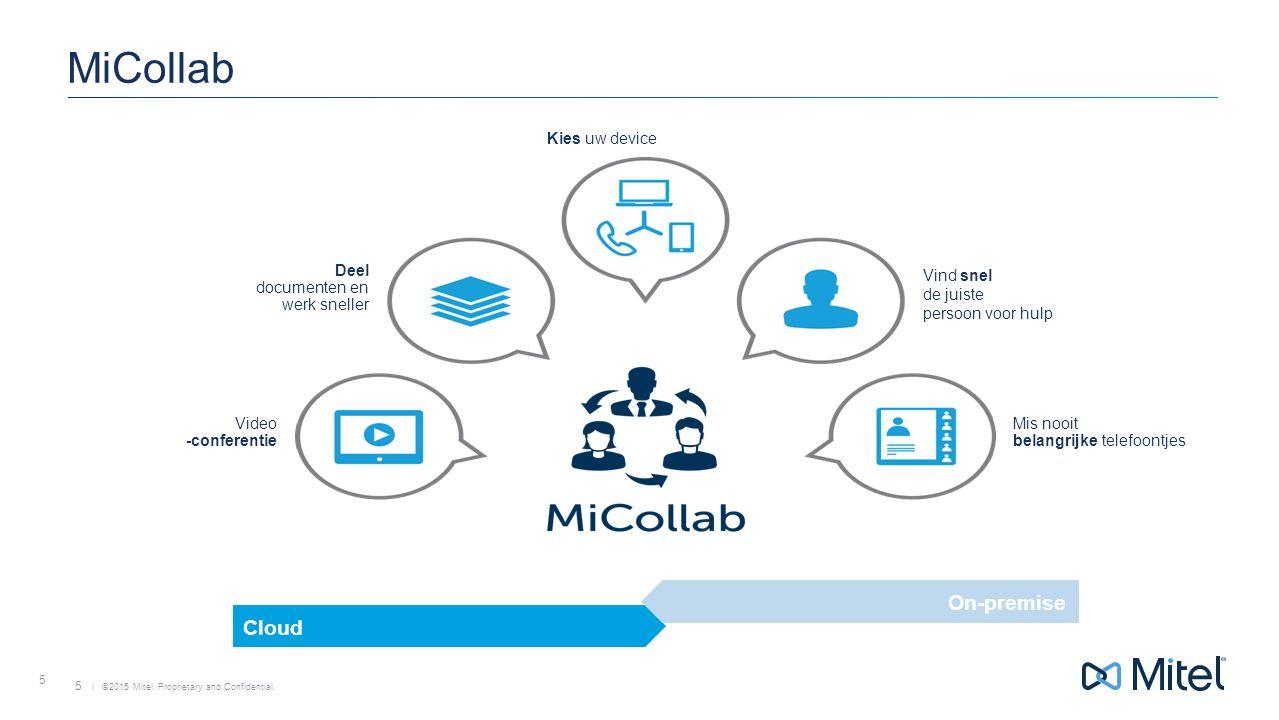 | ©2015 Mitel. Proprietary and Confidential. 5 MiCollab 5 Video -conferentie Mis nooit belangrijke telefoontjes Vind snel de juiste persoon voor hulp