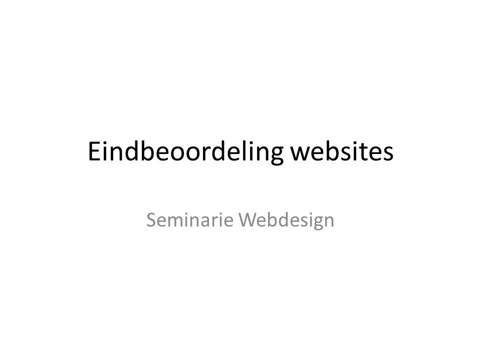 Eindbeoordeling websites Seminarie Webdesign