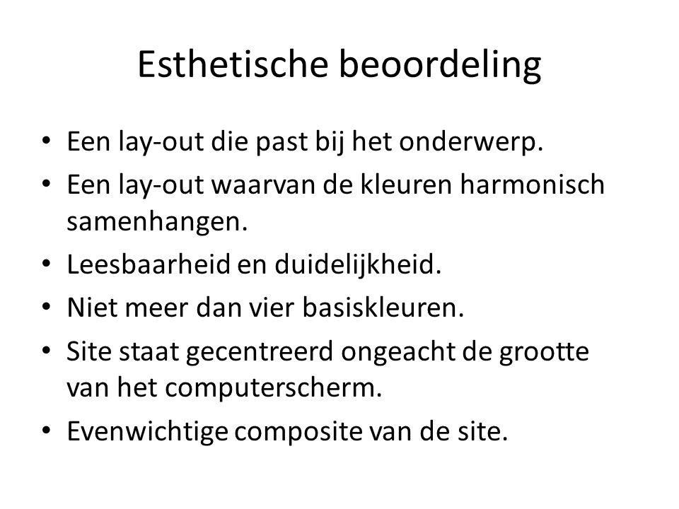 Esthetische beoordeling Een lay-out die past bij het onderwerp.