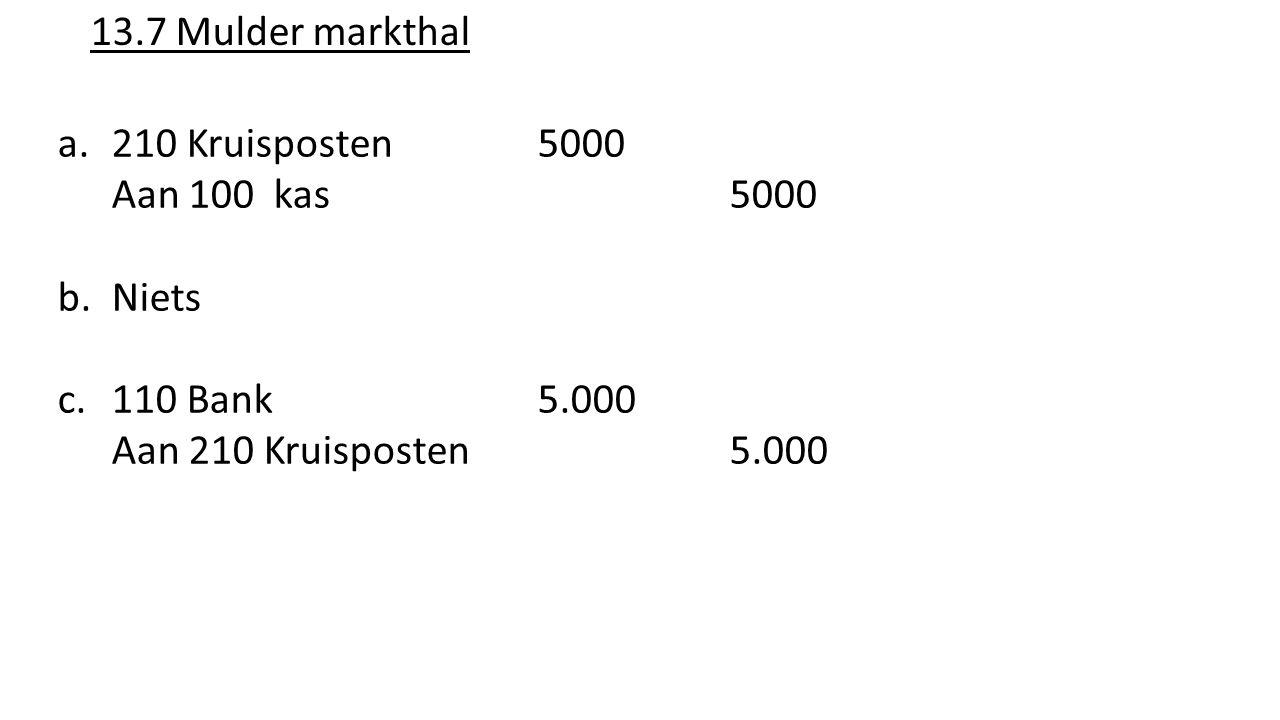 13.7 Mulder markthal a.210 Kruisposten 5000 Aan 100 kas 5000 b.Niets c.110 Bank5.000 Aan 210 Kruisposten 5.000