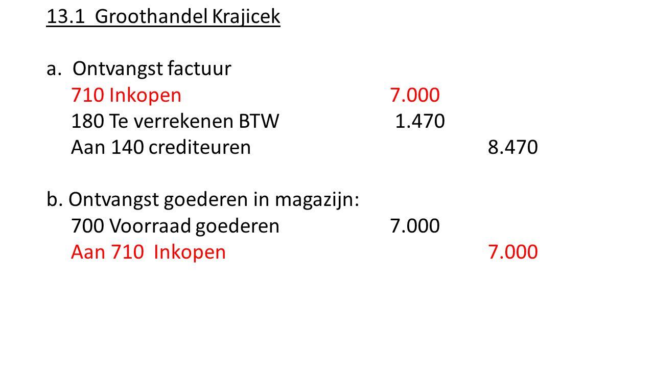 13.1 Groothandel Krajicek a. Ontvangst factuur 710 Inkopen 7.000 180 Te verrekenen BTW 1.470 Aan 140 crediteuren 8.470 b. Ontvangst goederen in magazi