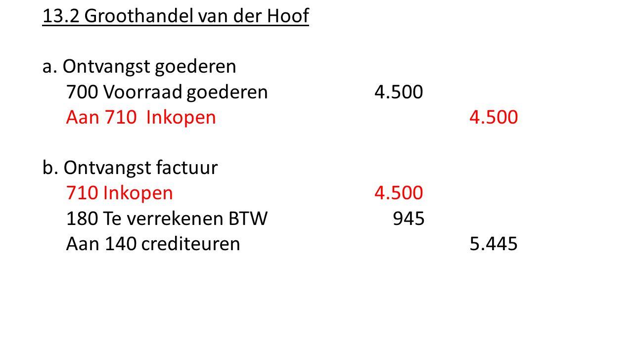 13.2 Groothandel van der Hoof a. Ontvangst goederen 700 Voorraad goederen 4.500 Aan 710 Inkopen 4.500 b. Ontvangst factuur 710 Inkopen 4.500 180 Te ve