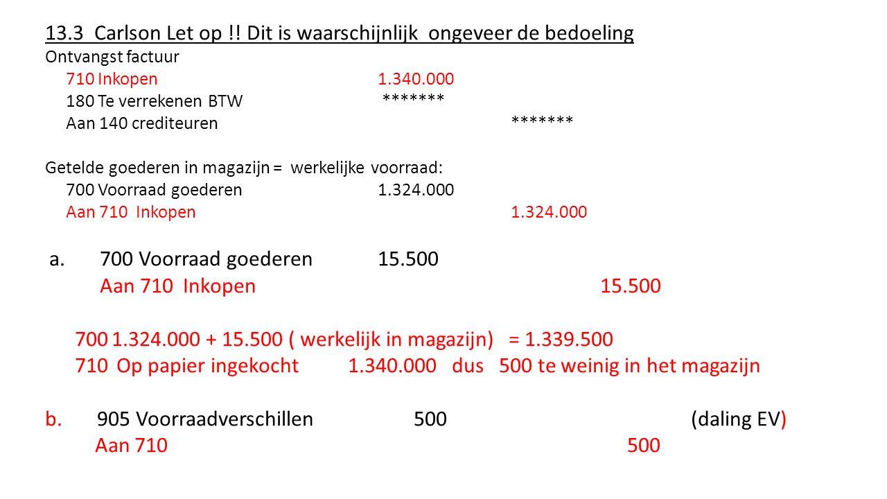 13.4 Fleur bloemenzaak Positief kasverschil = kasteveel Werkelijk hoeveelheid kasgeld 10 euro hoger Boekhoudkundige hoeveelheid kasgeld ophogen met 10 100 kas 10 (kas omhoog) Aan 900 Incidentele baten10 (ev omhoog)