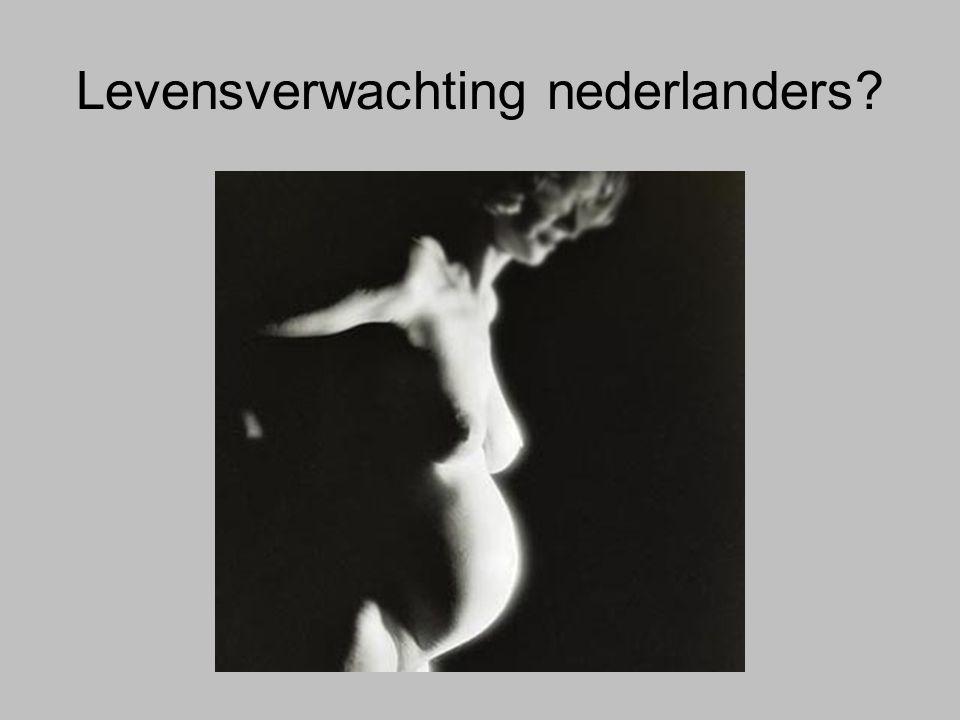 Levensverwachting nederlanders In 2005 was de levensverwachting bij geboorte 77,2 jaar voor mannenen 81,6 jaar voor vrouwen.