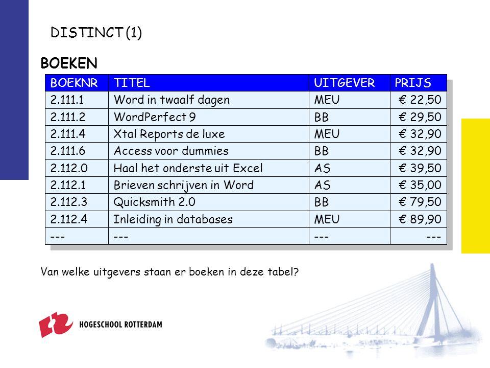 DISTINCT (1) Van welke uitgevers staan er boeken in deze tabel.