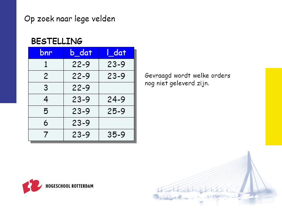 IS NULL b_datl_dat 22-9 23-9 24-9 23-925-9 23-9 35-9 bnr 1 2 3 4 5 6 7 BESTELLING SELECT bnr FROM bestelling WHERE l_dat IS NULL; SELECT bnr FROM bestelling WHERE l_dat IS NULL; bnr 3 3 6 6