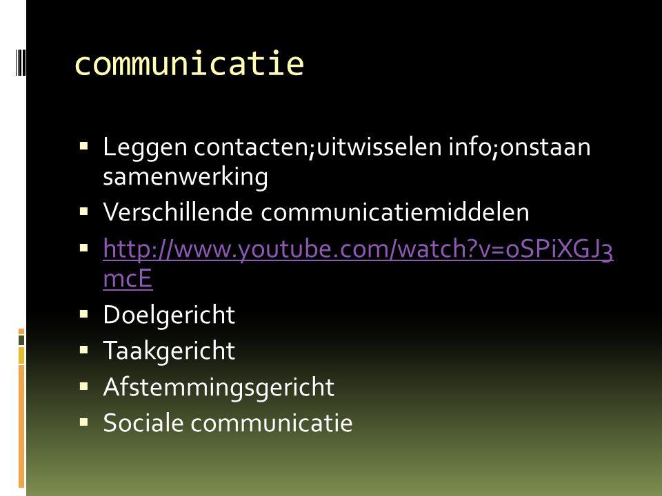communicatie  Leggen contacten;uitwisselen info;onstaan samenwerking  Verschillende communicatiemiddelen  http://www.youtube.com/watch?v=oSPiXGJ3 m