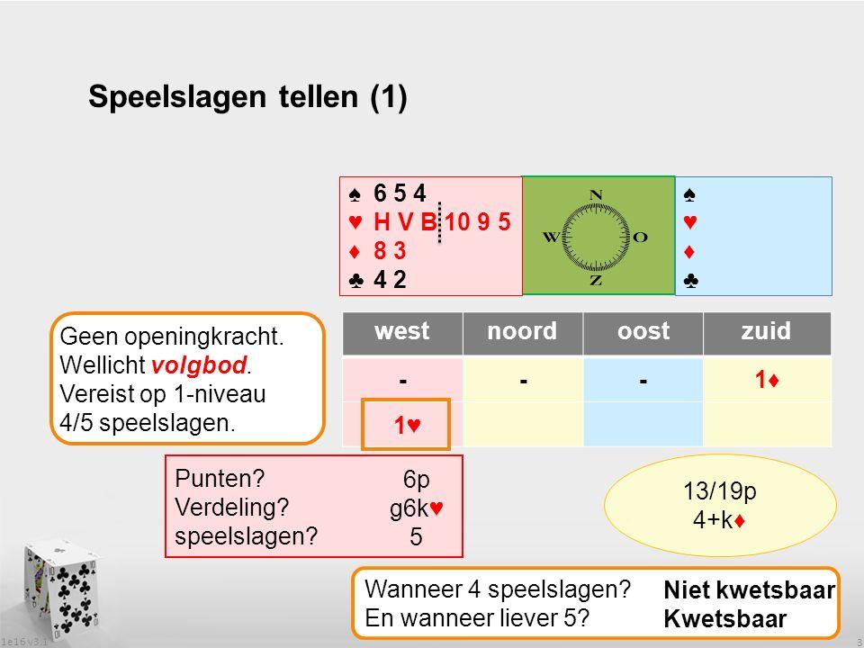 1e16 v3.1 3 Speelslagen tellen (1) westnoordoostzuid ---1♦ ♠♥♦♣♠♥♦♣ ♠6 5 4 ♥H V B 10 9 5 ♦8 3 ♣4 2 Geen openingkracht.