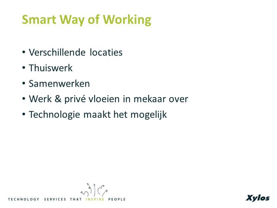 Smart Way of Working Verschillende locaties Thuiswerk Samenwerken Werk & privé vloeien in mekaar over Technologie maakt het mogelijk