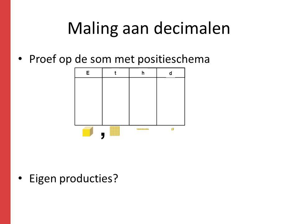 Maling aan decimalen Proef op de som met positieschema Eigen producties? Eth d,