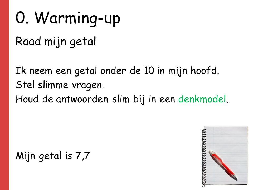 0. Warming-up Raad mijn getal Ik neem een getal onder de 10 in mijn hoofd. Stel slimme vragen. Houd de antwoorden slim bij in een denkmodel. Mijn geta