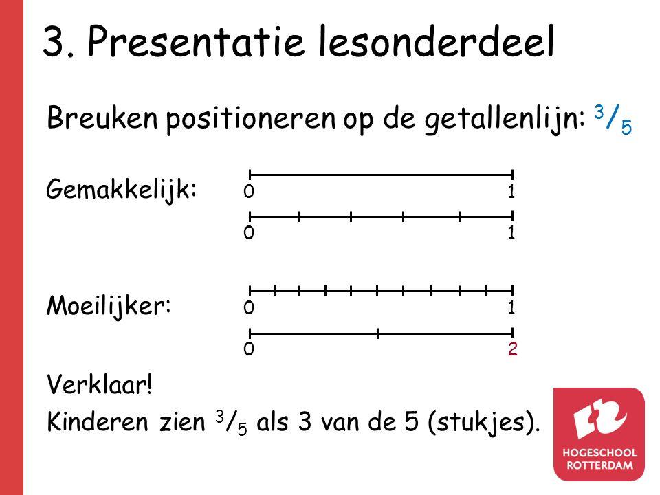 3. Presentatie lesonderdeel Breuken positioneren op de getallenlijn: 3 / 5 Gemakkelijk: 01 0101 Moeilijker: 01 0202 Verklaar! Kinderen zien 3 / 5 als