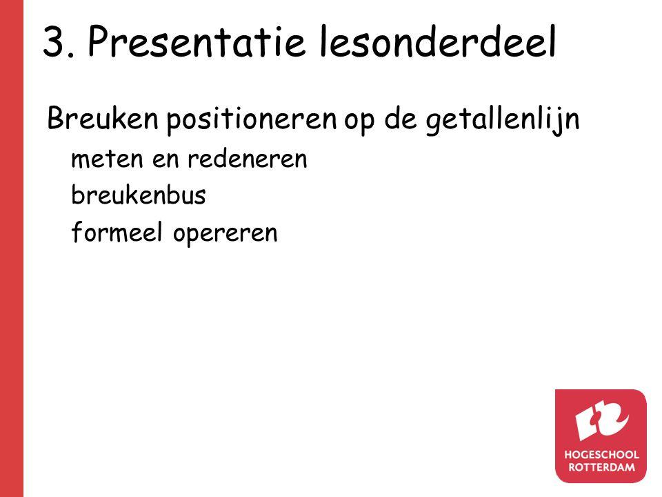 3. Presentatie lesonderdeel Breuken positioneren op de getallenlijn meten en redeneren breukenbus formeel opereren