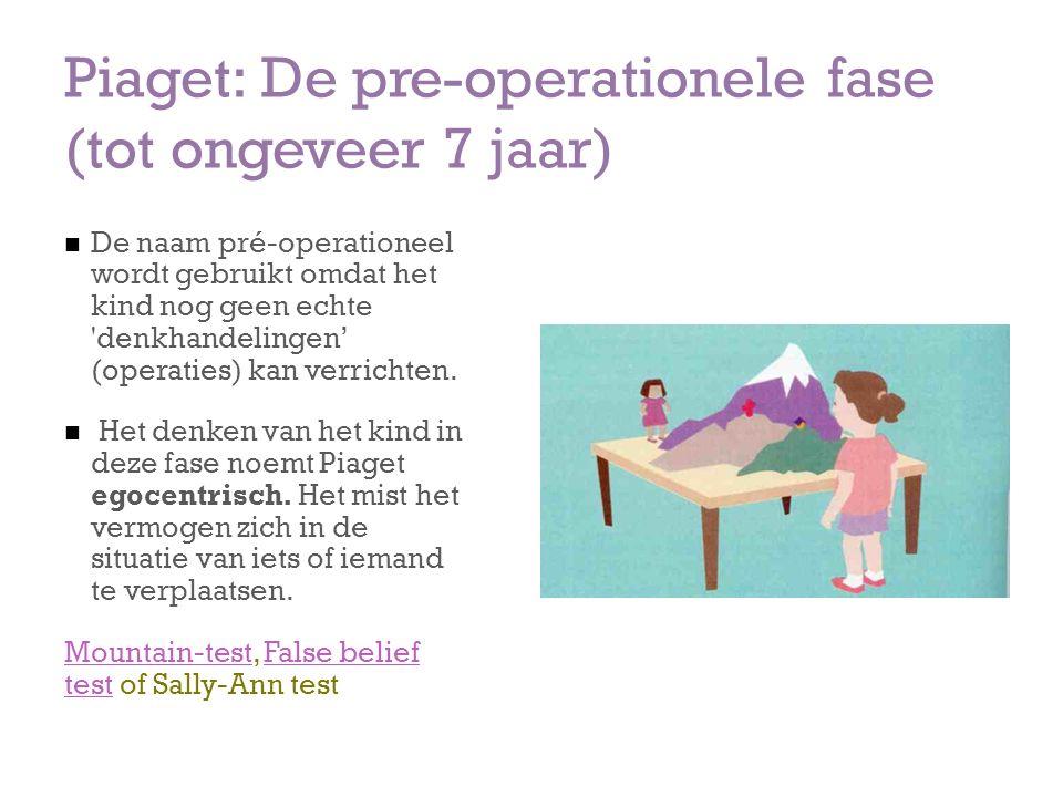 Piaget: De pre-operationele fase (tot ongeveer 7 jaar) De naam pré-operationeel wordt gebruikt omdat het kind nog geen echte 'denkhandelingen' (operat